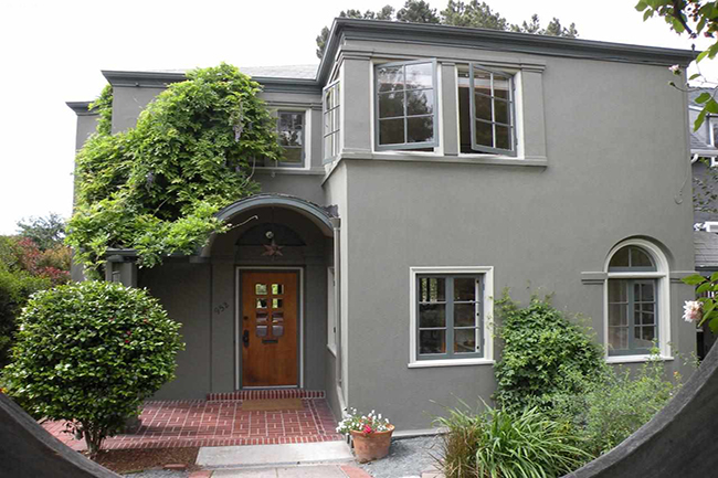 Natural light, Bay glimpses, wood floors & trims, grand curving staircase. Formal dining & breakfast rooms. Enclosed gardens front & back, lot goes thru to Mendocino Ave. Beautiful walks, near Solano Ave, parks, buses, all best of Berkeley.  Sold $1,562,500